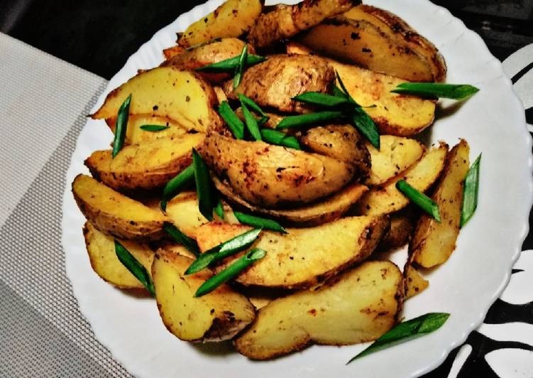 Baked herb potato wedges#weeklyjikonichallenge