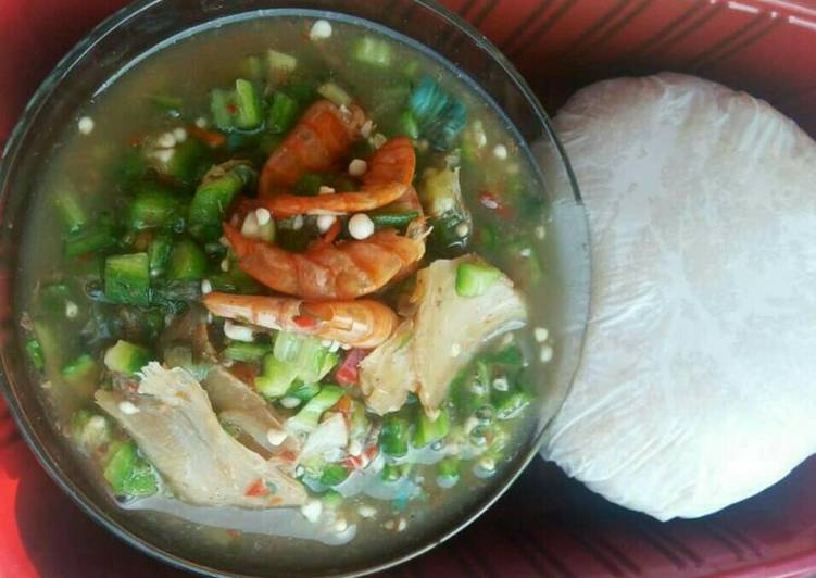 Simple Way to Prepare Homemade Sea food with Okro soup and pounded yam