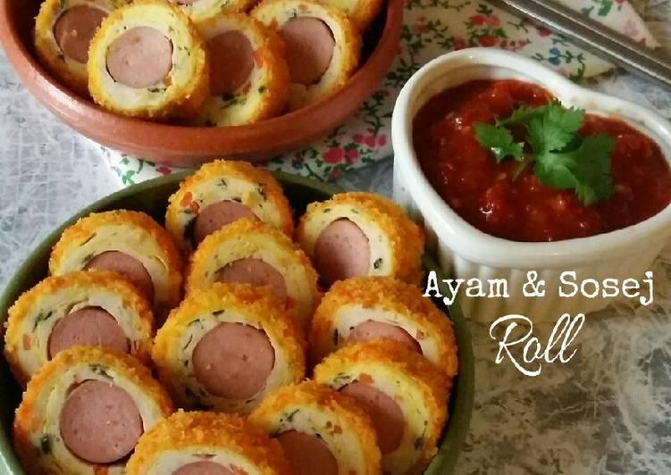 Ayam & Sosej Roll #MunahMasak - velavinkabakery.com