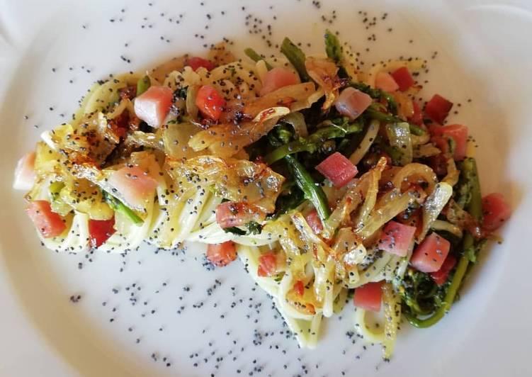 Spaghetti con i broccoletti e le cipollette dell'orto 🥦🥓