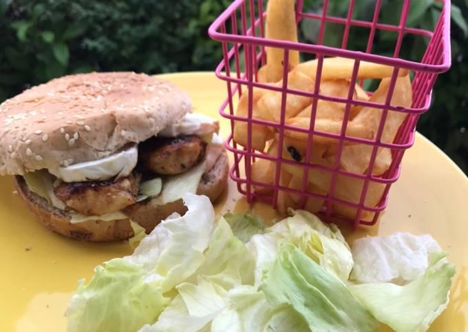 Burger poulet chèvre miel