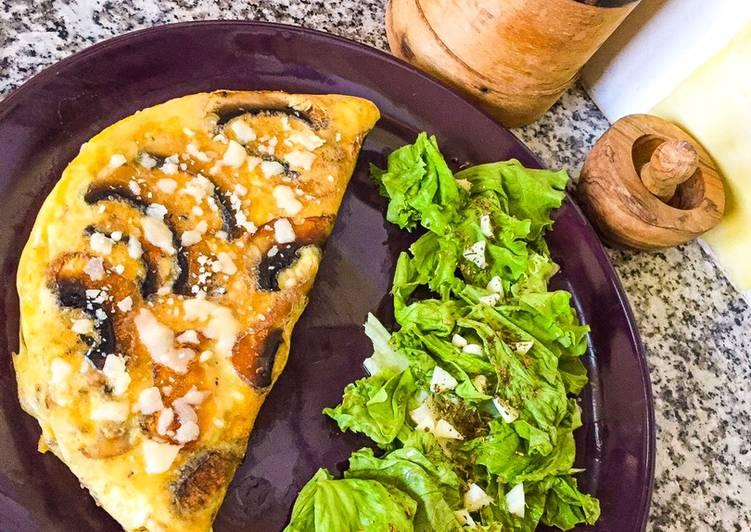 Omelette champignons de Paris au parmesan avec herbes de Provence