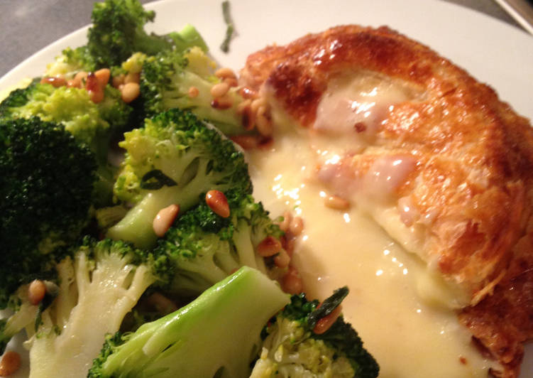 Recipe of Award-winning Baked Camembert in Puff Pastry with Broccoli and Sage Butter