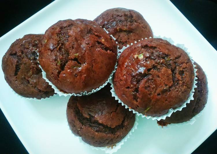 Chocolate Zucchini Muffins (eggless)