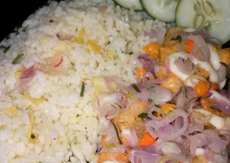 Nasi Margarin daun jeruk dengan Tahu Dadu Crispy Sambel Matah
