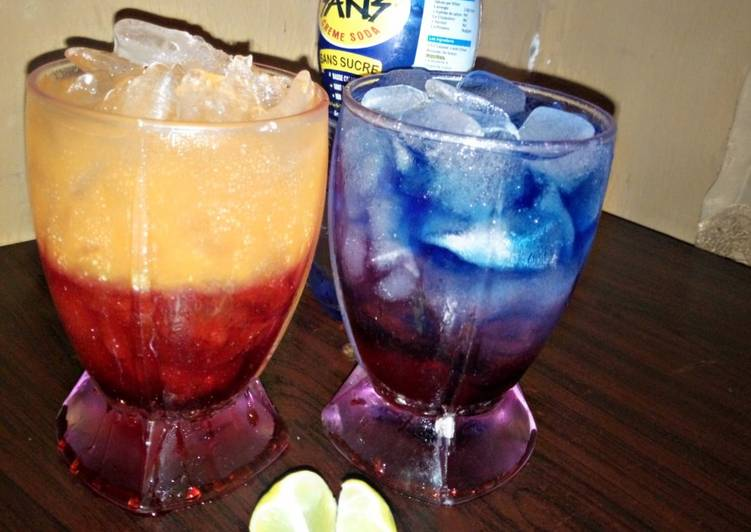 Recipe of Ultimate Sunrise moctail and layered blue paradise