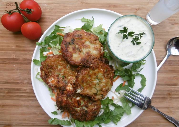Courgette Patties with Tzaziki Dip
