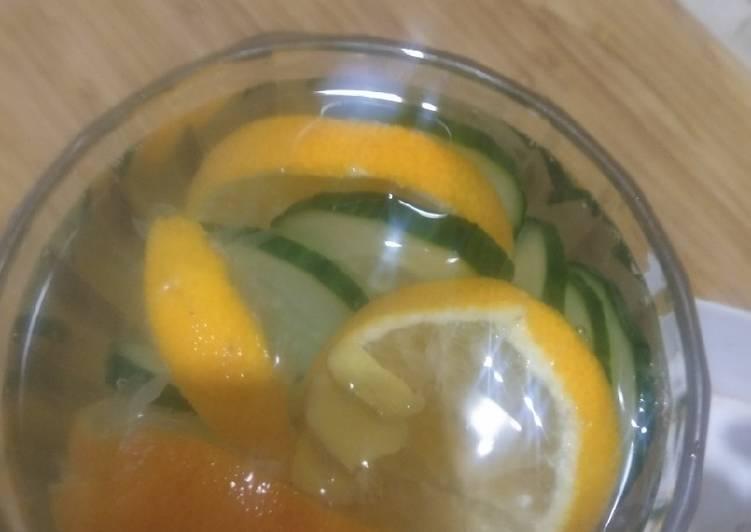 Orange lemon cucumber ginger detox drink