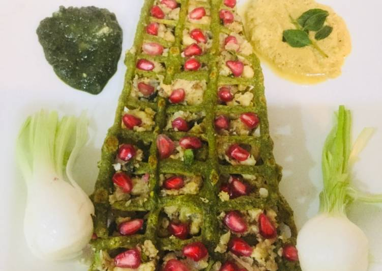 Moong Dal Net Chilla with Coconut Stuffing