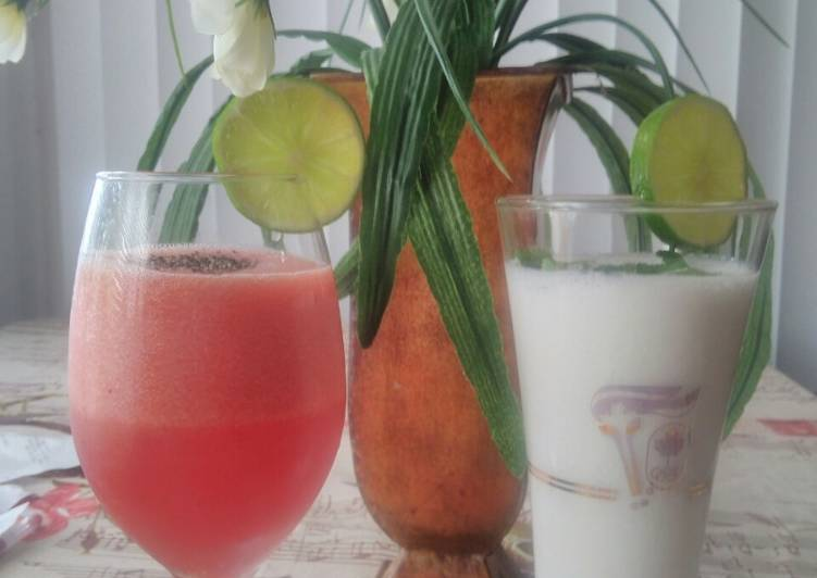 Watermelon juice / curd drink