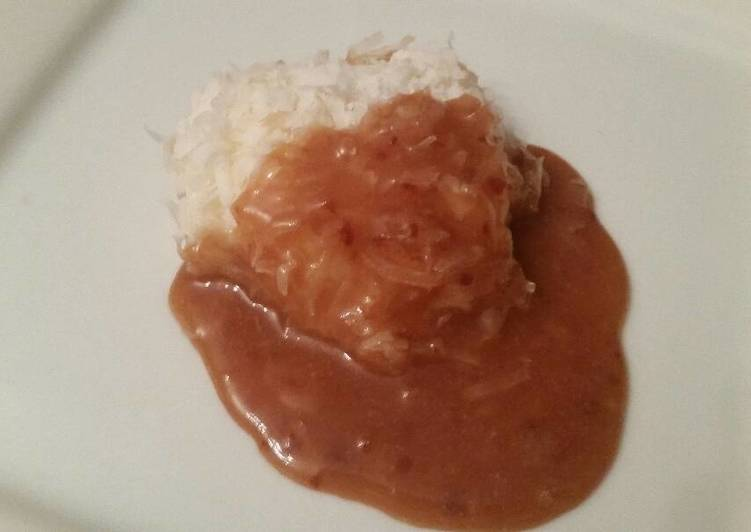 Frozen Coconut Cookie w/ Warm Plum Sauce