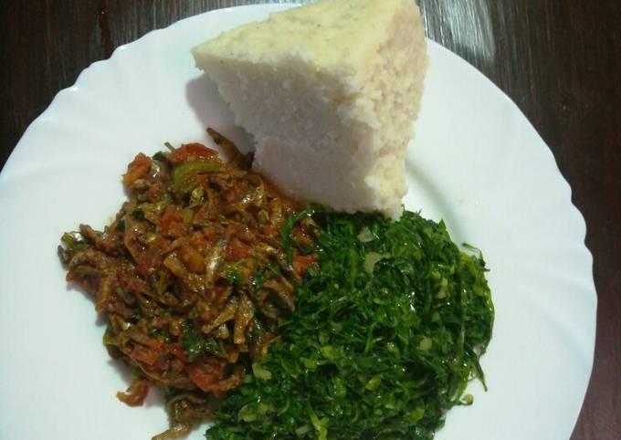 Ugali,fried dagaa and kales
