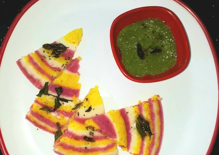 Tri color instant Dhokla