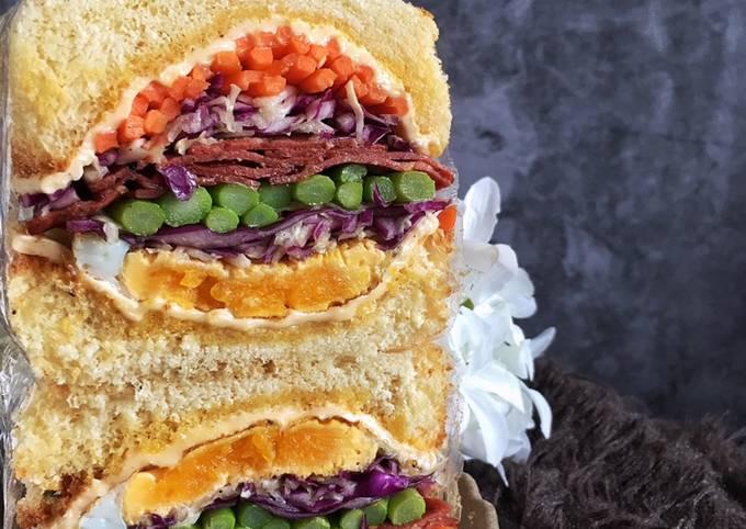 Wanpaku Sandwich mamaell :Beef salami asparagus