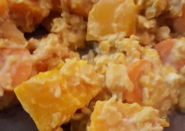 Poêlée butternut et lentilles corail au lait de coco
