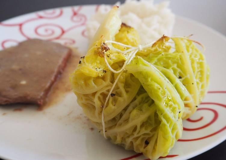Balluchons de choux vert frisé farcis aux légumes d'hiver