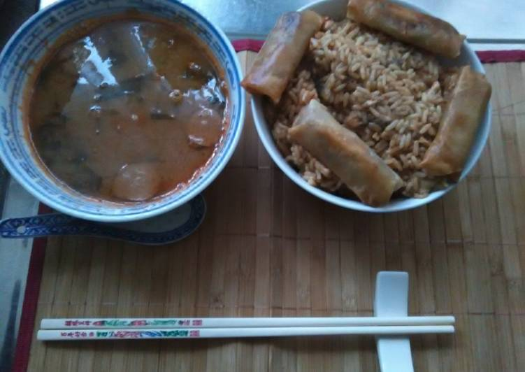 Recipe: Yummy Japanese dice pork chop in gekkeikan sake rice wine. japanese sticky yakiniku sauce sezhuan spicy spring rolls egg fried rice home made