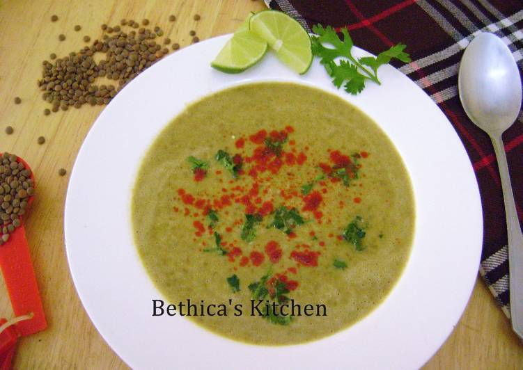 Cheesy Whole Masoor dal Soup