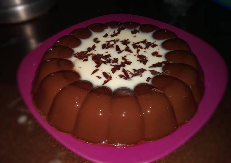 resep cara membuat Puding coklat vla