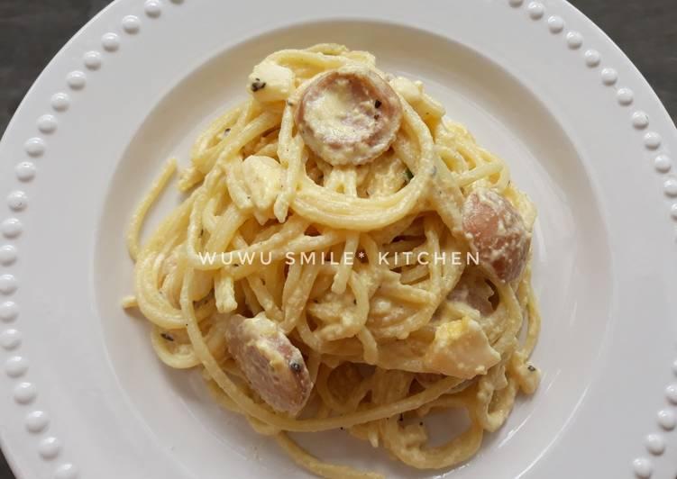 Resep Spaghetti Carbonara Zuper Creamy Keju oleh Wuwu Smile*s Kitchen - Cookpad