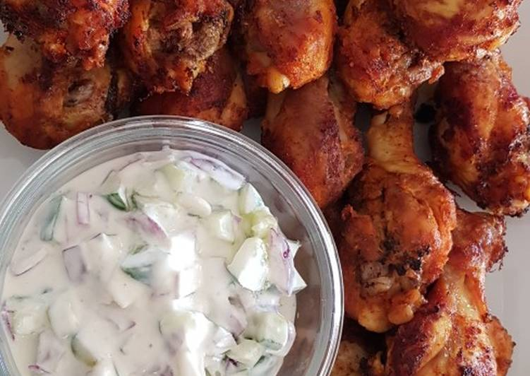 Living Greener for Better Health By Dining Superfoods, Cucumber Yogurt & Chicken Drumsticks in Spices