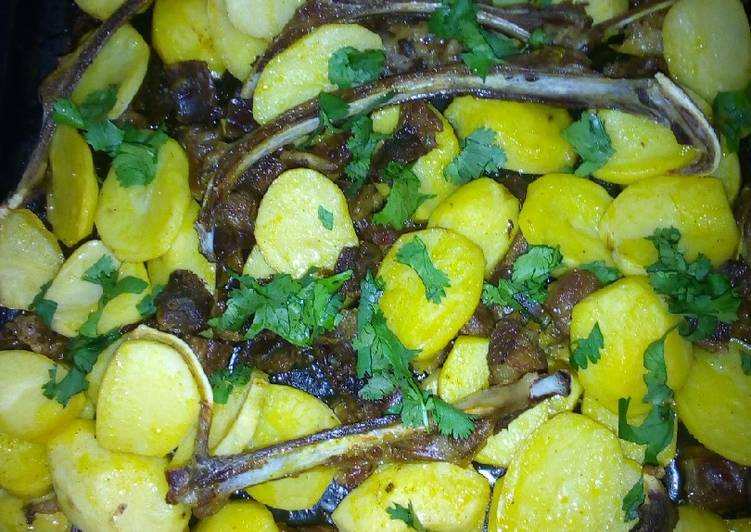 Easiest Way to Make Homemade Oven roasted Mutton/ potato combo. #4WeeksChallenge