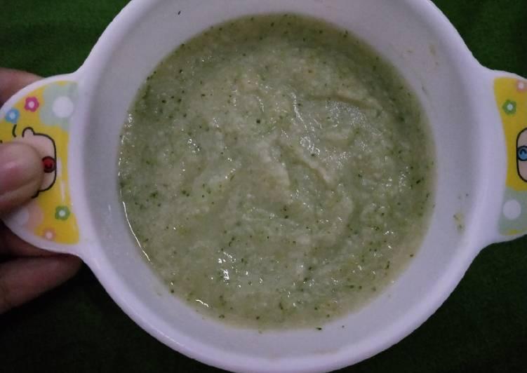 Mpasi 7m+(bubur lele, brokoli, kentang)