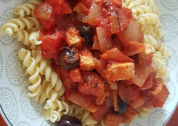 Recette: Délicieux Pâtes sauce tomate rapide au tofu