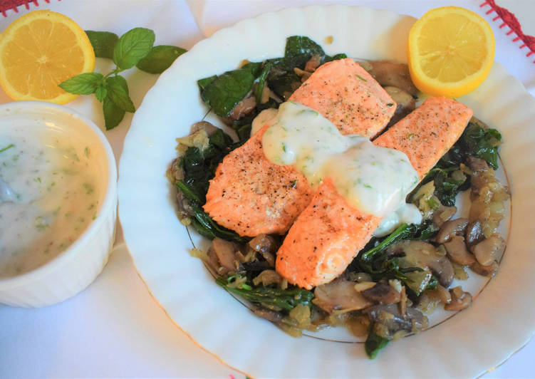 Steps to Prepare Homemade Salmon fillets with mushroom & spinach