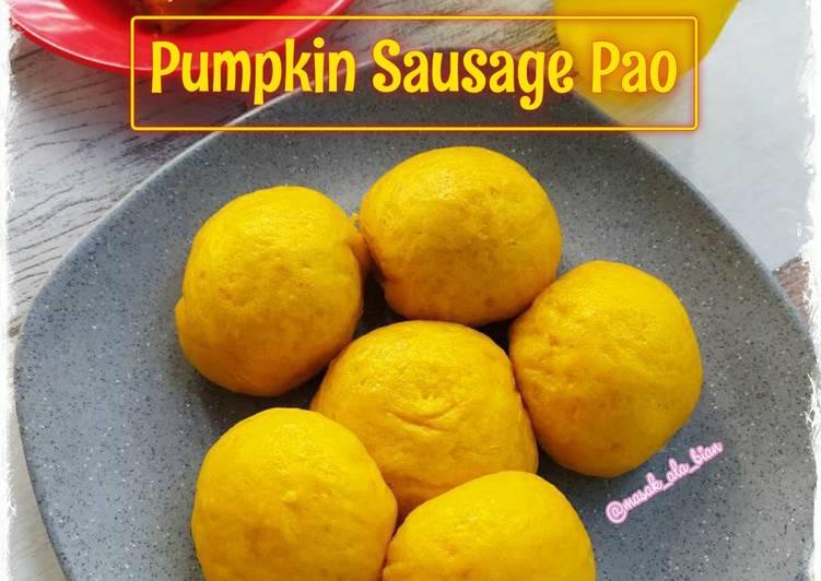 Cara bikin Pumpkin Sausage Pao  yang Enak Banget
