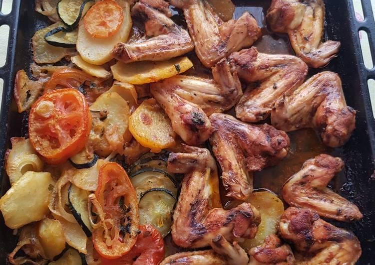 pollo al horno con vegetales y papas