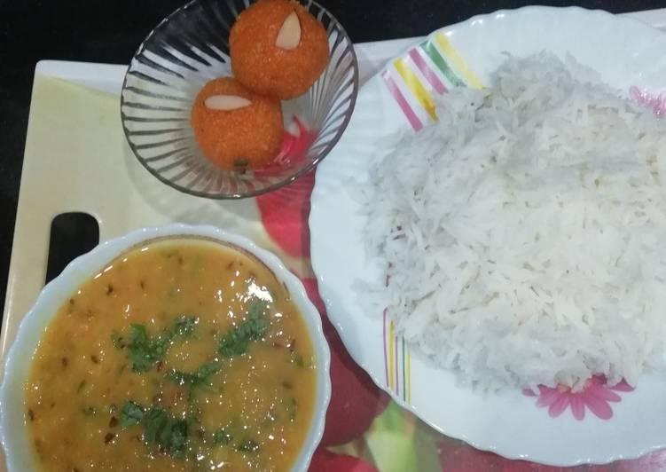 Dal tadka and rice
