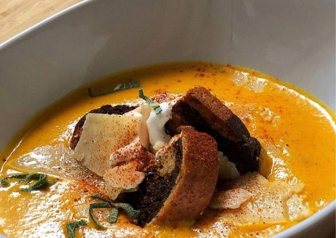 Roasted Sweet Potato & Carrot Soup with Marble Rye Croutons