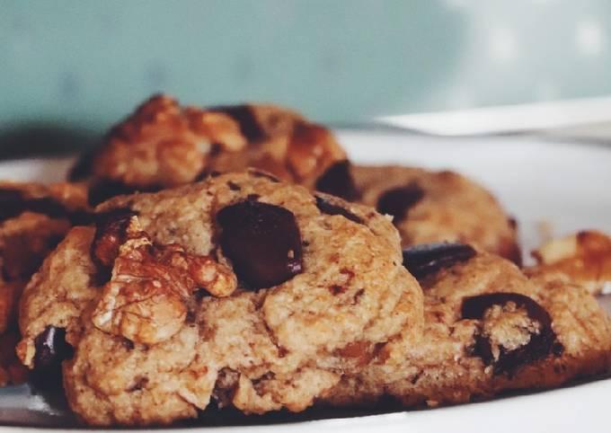 Cookies huile de coco pépites de chocolat et noix