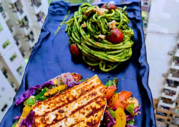 Pesto Noodles with Grilled Paneer Steak