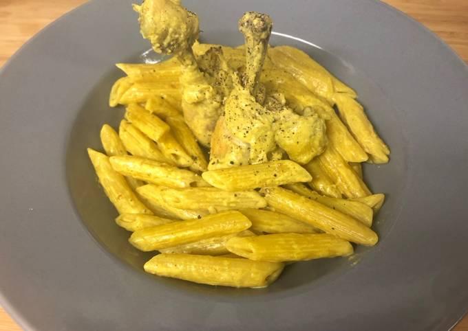 Penne pilon de poulet / curry