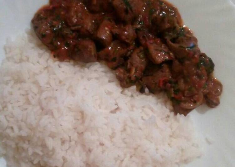 Grandmother's Dinner Ideas Autumn Wet-Fried liver with Boiled rice
