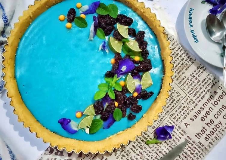Resep Butterfly Pea Flower Lime Tart Pie Bunga Telang No Bake Oleh Imaimey Cookpad