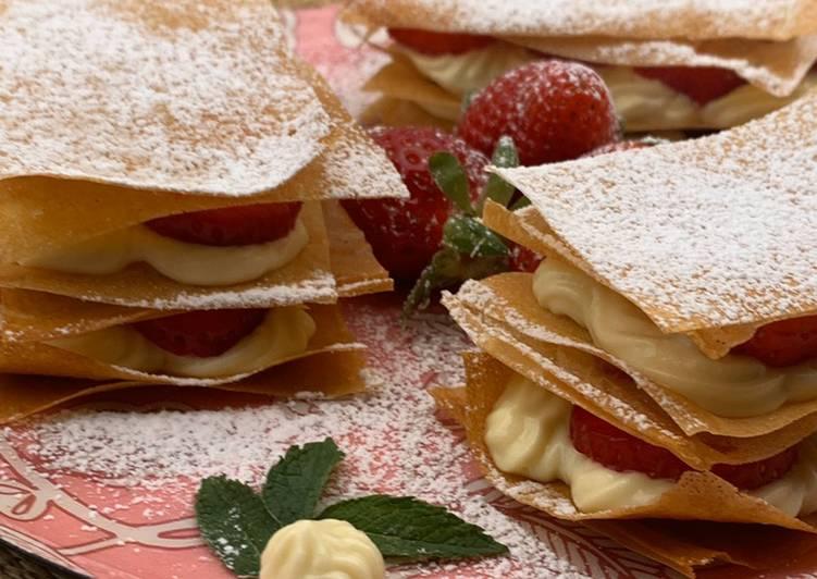 Recette Délicieux Croustillant de fraises façon mille-feuille