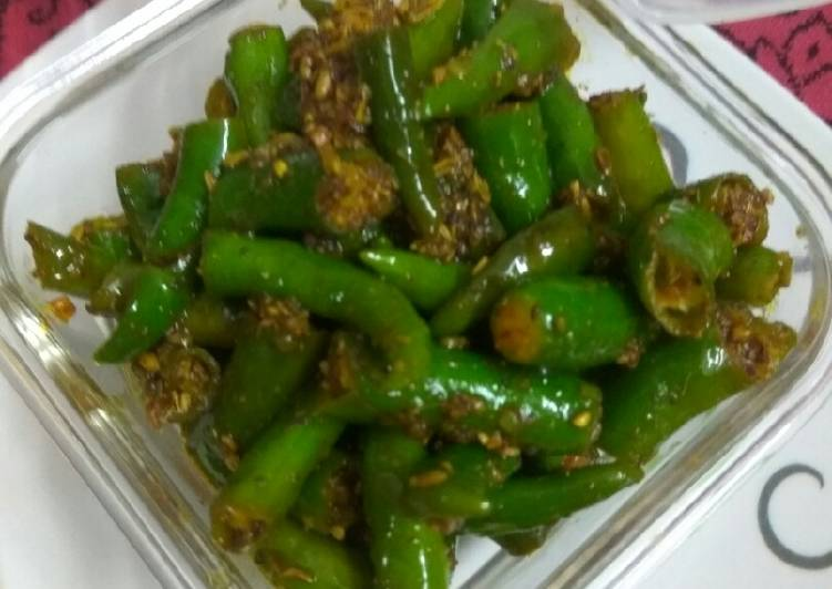 30 Minute Easiest Way to Make Vegan Green chilli pickle