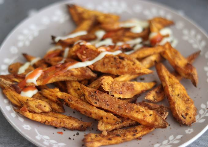 Air fry sweet potato spiced chips