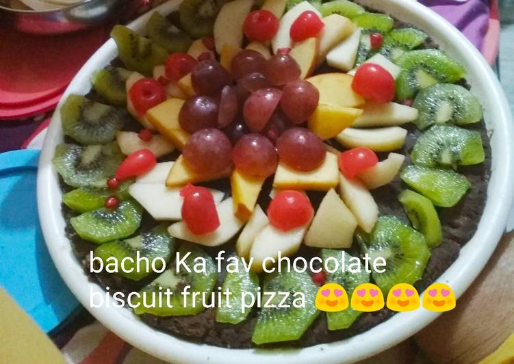 Chocolate biscuits fruit pizza totally unique