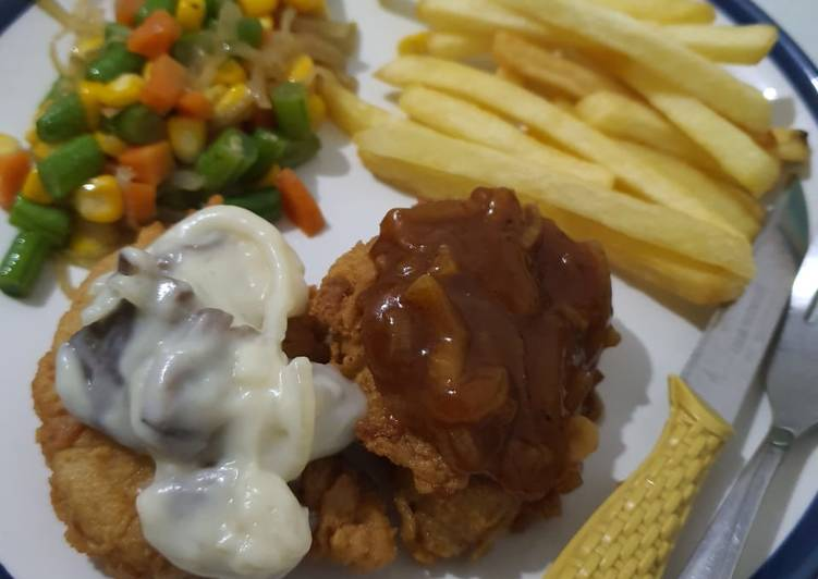 Chicken steak with creamy mushroom and barbeque sauce
