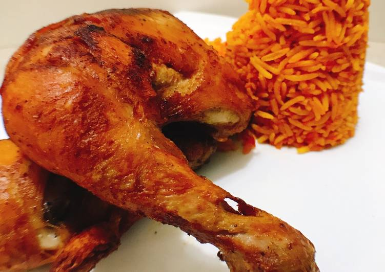 Spicy fried chicken and jollof rice