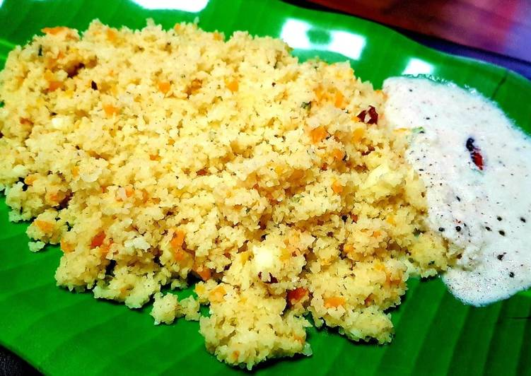 Steamed Broken Wheat Upma with Carrot
