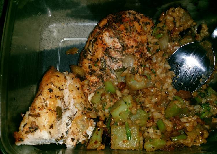 Balsamic vinaigrette marinade chicken breasts with brown rice an