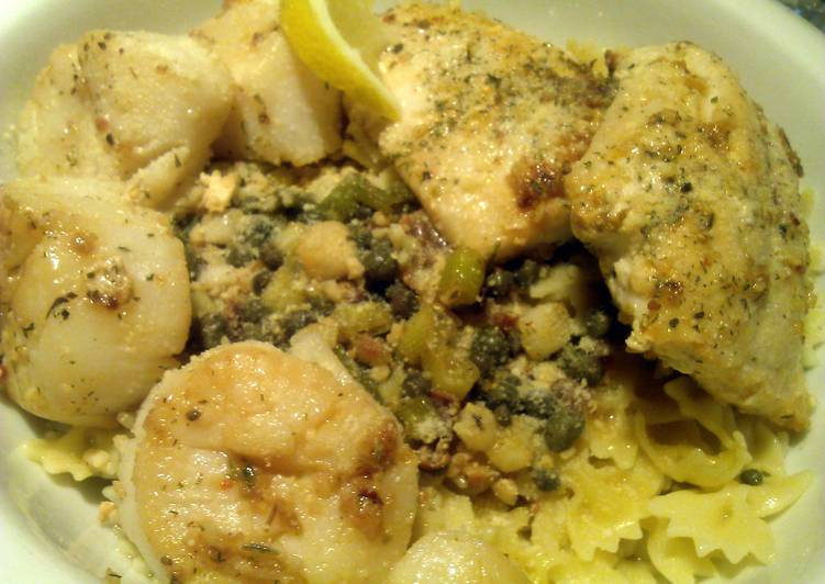 Easiest Way to Prepare Quick Pasta with pan seared Red Snapper and Scallops