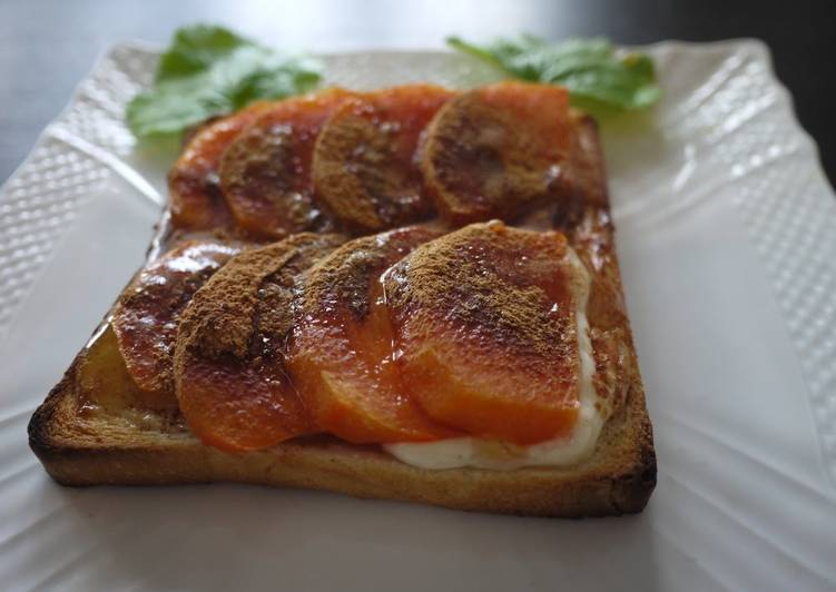 Persimmon Toast with Sour Cream and Cinnamon