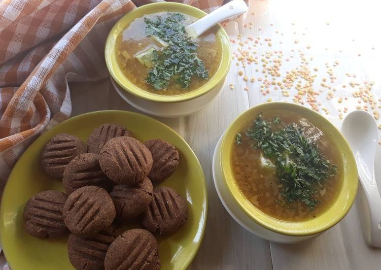 SugarFree Ragi Cookies with Mixed Lentil soup