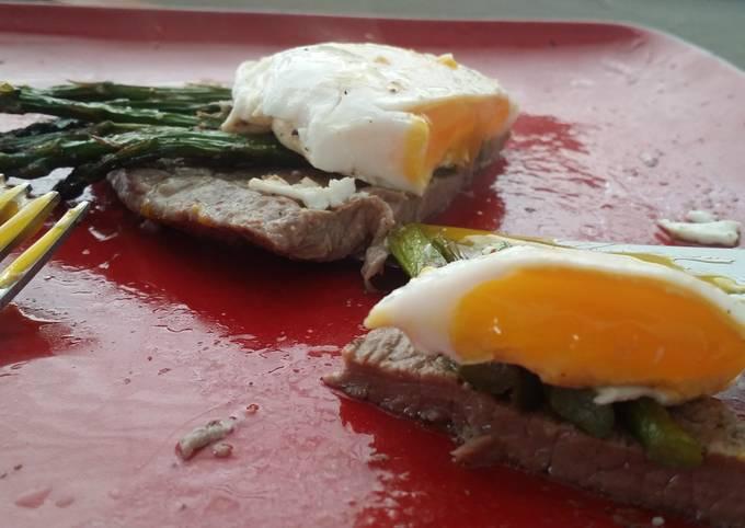 Grilled Carne Asada, Asparagus, and Duck Egg